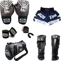Kit Boxe Muay Thai Top - Luva Bandagem Bucal Caneleira Shorts Bolsa - 14 Oz - Top