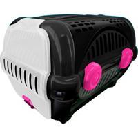 Caixa De Transporte Para Pets Luxo 28,5X30Cm Preta E Rosa