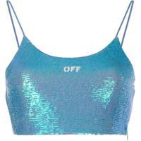Off-White Blusa Cropped Com Paetês - Azul