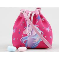 Bolsa Infantil Estampada De Unicórnio + Elásticos De Cabelo Pink - Único