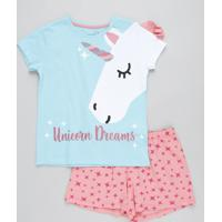 Pijama Infantil Unicórnio Com Glitter Manga Curta Azul Claro