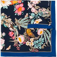 Salvatore Ferragamo Echarpe Com Estampa Floral - Azul