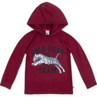 """Camiseta """"Wild Tiger"""" Com Capuz- Vermelho Escuro & Azul Puc"""