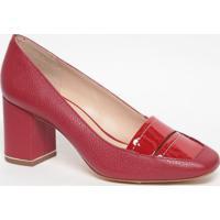 Sapato Em Couro Com Recorte Envernizado - Vermelho- Jorge Bischoff
