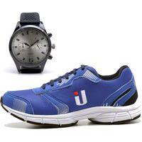 Tênis Masculino Ousy Shoes Training Academia Ultraleve Brinde Relógio Azul