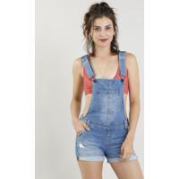 Jardineira Jeans Feminina Com Barra Dobrada Azul Médio