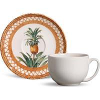 Xícara De Chá Com Pires Coup Pineapple Colorida