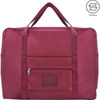 Bolsa De Viagem Dobrã¡Vel- Vermelho Escuro- 20X45X36,Jacki Design
