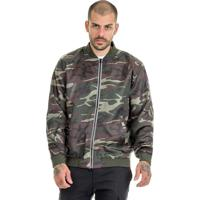 Jaqueta Offert Bomber Camuflada Masculina Slim Fit Verde Militar