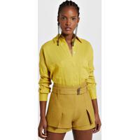 Camisa Ampla De Linho Com Bolsos Color Amarelo Yoko - M