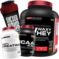 Kit Waxy Whey 2Kg Chocolate Bcaa 4,5G 100G 100% Creatine 100G Coqueteleira – Bodybuilders