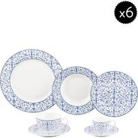 Aparelho De Jantar De Porcelana- Branco & Azul- 42Pçwolff