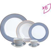 Aparelho De Jantar Geométrico- Branco & Azul- 42Pçs