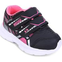 Tênis Infantil No Stress Running Velcro - Masculino-Preto+Pink