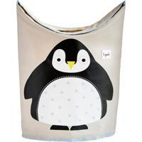 Cesto De Roupa 3 Sprouts Pinguim Preto E Branco - Branco - Menino - Dafiti