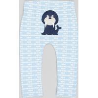 Calça Infantil Morsa Estampada Azul Claro