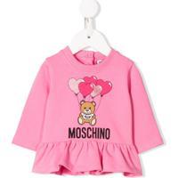 Moschino Kids Blusa Mangas Longas Com Logo E Babados - Rosa
