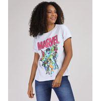 Blusa Feminina Marvel Manga Curta Decote Redondo Cinza Mescla Claro