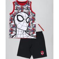 Pijama Infantil Homem Aranha Regata + Canetinha Vermelho