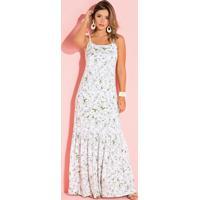 Vestido Longo De Alças Floral Branco