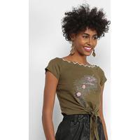 Blusa Lily Fashion Com Aplicação Feminina - Feminino-Verde