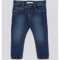 85d9ca4f2 Calça Jeans Infantil Com Barra Colorida Azul Escuro