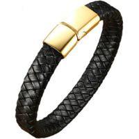 Pulseira Bracelete Em Couro Artestore Preto-Gold Com Fecho Aço