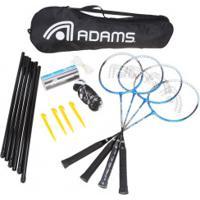 Kit De Badminton Adams Titanium 80 - 4 Raquetes, 3 Petecas, 1 Rede E 1 Raqueteira - Cinza Cla/Azul