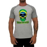 Camiseta Mxd Conceito Skull Brasil Masculino - Masculino-Cinza