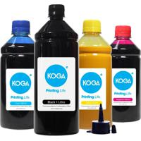 Kit 4 Tintas Para Epson Bulk Ink Sublimática T664 Black 1 Litro E Coloridas 500Ml Koga
