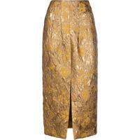 Brock Collection Saia Cintura Alta Floral - Dourado