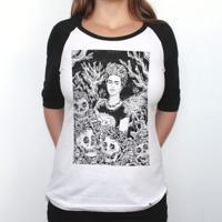 Frida Rogai Por Nós Iii - Camiseta Raglan Manga Longa Feminina