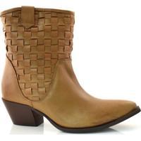 Ankle Boots De Couro E Salto Baixo Suzzara
