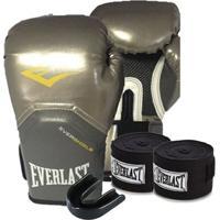 Kit Boxe Elite Pro Style 10Oz Prateada Everlast - Unissex
