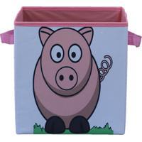 Caixa Organizadora De Brinquedos Organibox Branca/Rosa