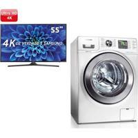 """Smart Tv Led 55"""" Ultra Hd 4K Samsung 55Ku6000 + Lavadora E Secadora De Roupas Samsung Branca Wd106Uhsaw Branca - 10,1 Kg"""