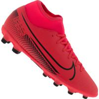 Chuteira De Campo Nike Mercurial Superfly 7 Club Fg/Mg - Adulto - Coral/Preto