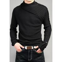 Suéter Masculino Design Assimétrico - Preto
