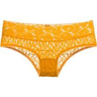 Calcinha Caleçon Renda Sweet Lace Loungerie - Amarelo