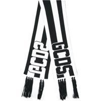 Gcds Cachecol Listrado Com Logo - Branco