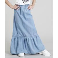 Saia Jeans Infantil Longa Com Babado Azul Claro