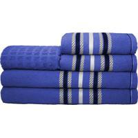 Jogo De Banho Stella 5 Peças 100% Algodão Azul