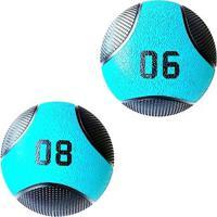 Kit 2 Medicine Ball Liveup Pro 6 E 8 Kg Bola De Peso Treino Funcional - Unissex