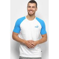 Camiseta Puma Ess+ Raglan Masculina - Masculino-Branco+Azul