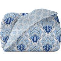 Edredom Diamante King Size- Branco Azul- 240X280Cmteka