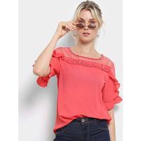 Blusa Lily Fashion 3/4 Renda Babados Feminina - Feminino-Pink