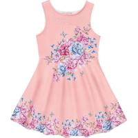 Vestido Neoprene Infantil Floral Rosa - Fakini