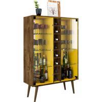 Cristaleira Modena Madeira Rústica/Amarelo Móveis Bechara
