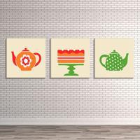 Conjunto De 3 Telas Decorativas Estilo Ilustração Ícones Chaleiras E Bolo - Montada: 40X126Cm (A-L) Unico