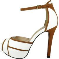 Sandália Week Shoes Salto Alto Meia-Pata 3D Branco/Marrom